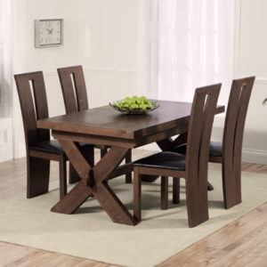 avalon dark solid oak 160cm extending dining table with 6 arley chairs 2655 - Dark Oak Dining Table