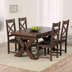 Avalon Dark Solid Oak 160cm Extending Dining Table With 6 Croydon Chairs 2663
