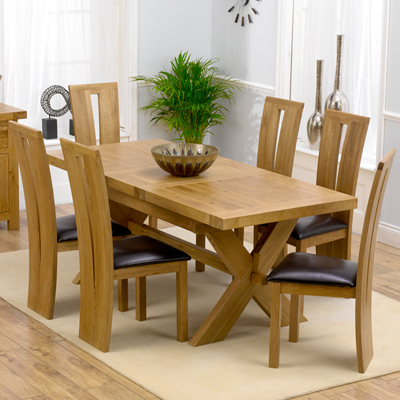 e779b12575 Avalon Solid Oak 160cm Extending Dining Table with 6 Arley Chairs-2312
