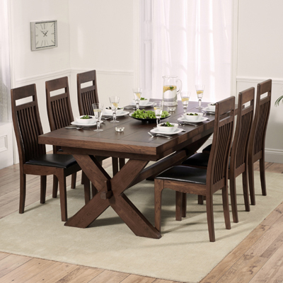 Pleasing Avalon Dark Solid Oak 200Cm Extending Dining Table With 8 Monty Chairs Inzonedesignstudio Interior Chair Design Inzonedesignstudiocom