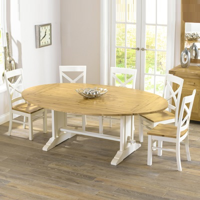 Superb Carver Oak Cream Oval Extending Dining Table With 8 Chairs Inzonedesignstudio Interior Chair Design Inzonedesignstudiocom