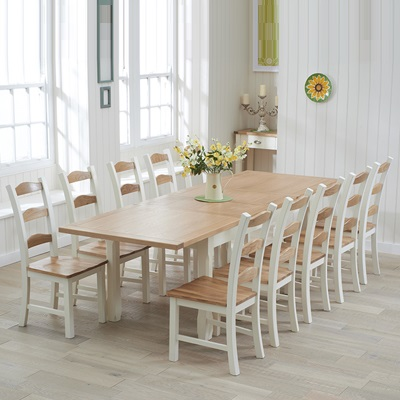 Sandiego Oak And Cream 180cm Extending Dining Table With 10 Chairs
