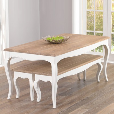 Seville ivory painted distressed dining table with 2 benches robson furniture - Painted dining tables distressed ...