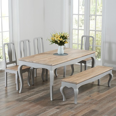 Seville Grey Painted Distressed Dining Table With 4 Chairs Bench