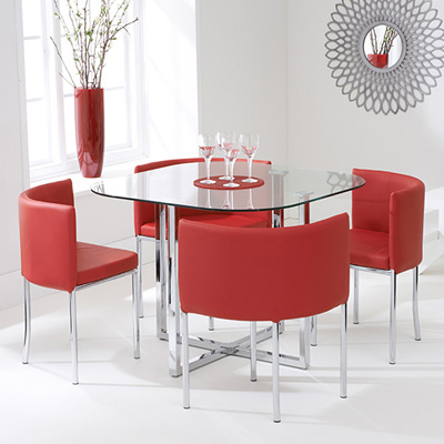 Abigail Glass Dining Set with Red Chairs-6280