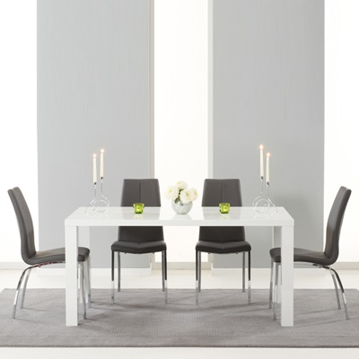 9cf71fe57b62 Avanti 160cm High Gloss White Dining Table with 6 Carter Grey Chairs-4908