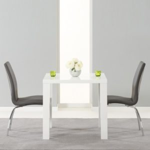 3707ba356abd Avanti 80cm High Gloss White Dining Table with 2 Carter Grey Chairs-4864