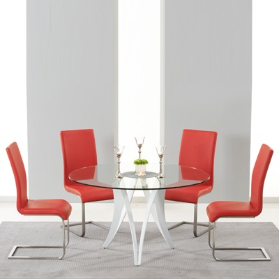 Balino Glass Round Dining Table With 4 Milan Red Chairs Robson Furniture