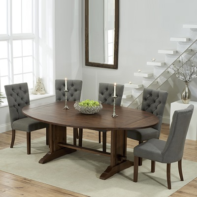 Fabulous Carver Dark Oak Oval Extending Dining Table With 6 Albany Grey Chairs Onthecornerstone Fun Painted Chair Ideas Images Onthecornerstoneorg