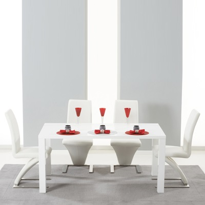 Harvey 160cm High Gloss White Dining Table With 4 Harvey White Chairs 5029