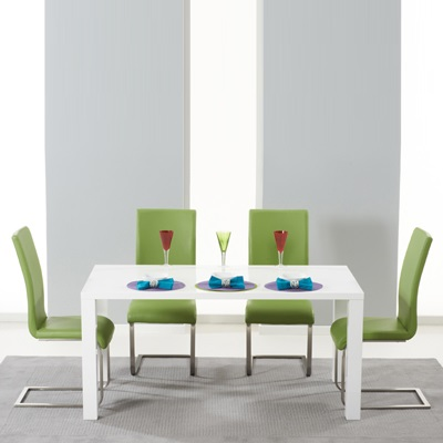 Harvey 160cm High Gloss White Dining Table With 4 Milan Green Chairs