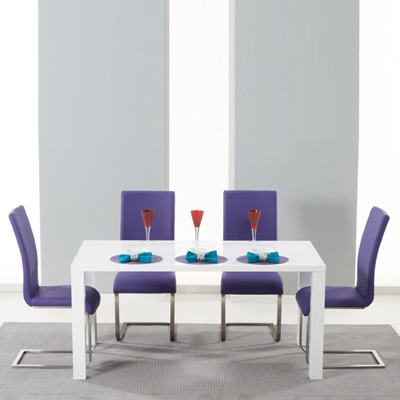 Harvey 160cm High Gloss White Dining Table With 4 Milan Purple Chairs
