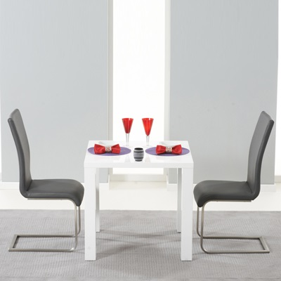 harvey 80cm high gloss white dining table with 2 milan grey chairs 5002 - Dining Table With Grey Chairs