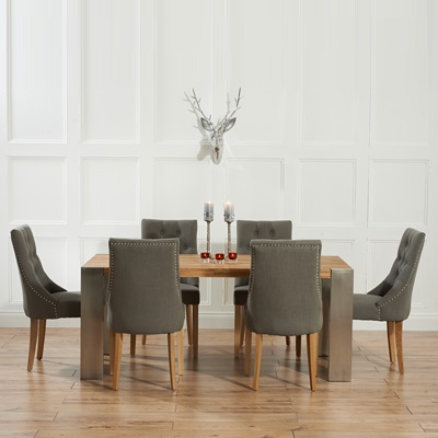 Kingston Solid Oak Extending Dining Table With 6 Primly Grey Chairs 5642