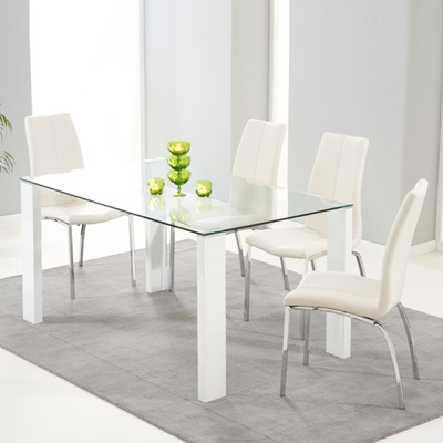 Lorenzo Glass 150cm Dining Table with 6 Carter Ivory ...