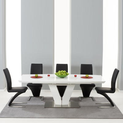 Malta High Gloss Extending Dining Table With 6 Harvey White Chairs