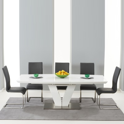 Malta High Gloss Extending Dining Table With 6 Milan Grey Chairs 5087