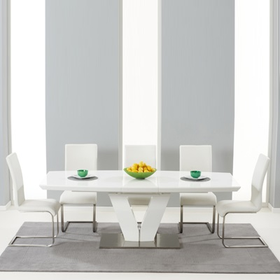 Malta High Gloss Extending Dining Table With 6 Milan Ivory Chairs 5093