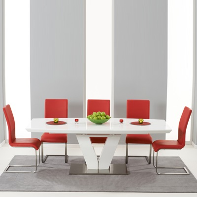 Malta High Gloss Extending Dining Table With 6 Milan Red Chairs 5109