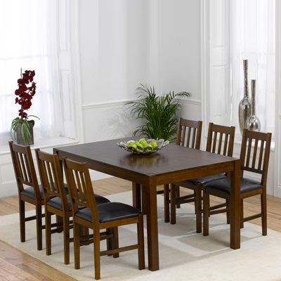 Martinez Solid Dark Wood 6 Seater Dining Set Robson Furniture