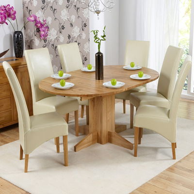 Monty Solid Oak Extending Round Dining Table With 6 Rome Chairs Robson Furniture