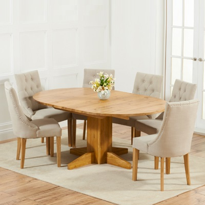 Monty Solid Oak Extending Round Dining Table With 6 Primly Grey Chairs
