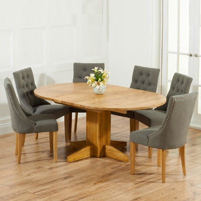 monty solid oak extending round dining table with 6 primly grey chairs robson furniture. Black Bedroom Furniture Sets. Home Design Ideas