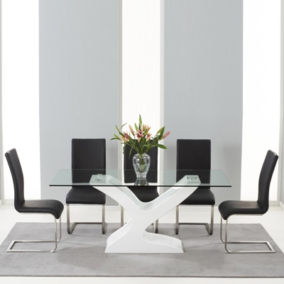 Newbury Gloss And Glass Dining Table With 6 Milan Black