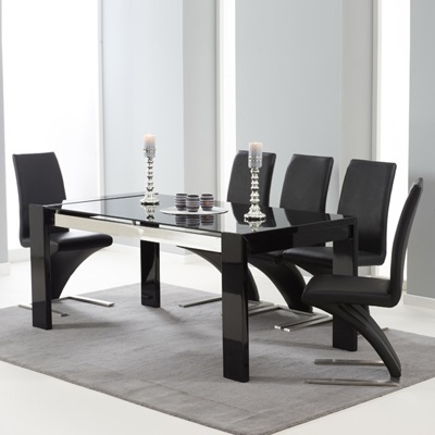 Selina Black Gloss And Glass Dining Table With 6 Harvey Black Chairs