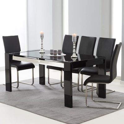 Selina Black Gloss And Glass Dining Table With 6 Milan Black Chairs