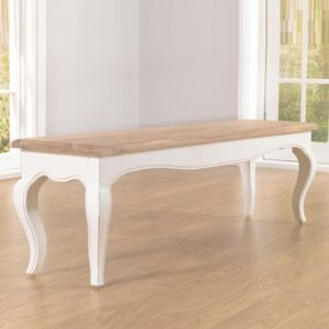 Seville Ivory Painted Distressed Dining Bench 5583