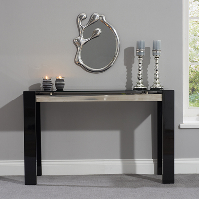 Selina Black Gloss And Glass Console Table Robson Furniture
