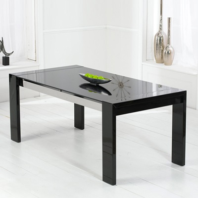 Selina Black Gloss And Glass Dining Table With 6 Harvey Black