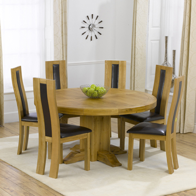 Trina Solid Oak Round Dining Table With 6 Howard Chairs Robson Furniture