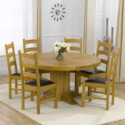 Trina Solid Oak Round Dining Table With 6 Venice Chairs Robson Furniture