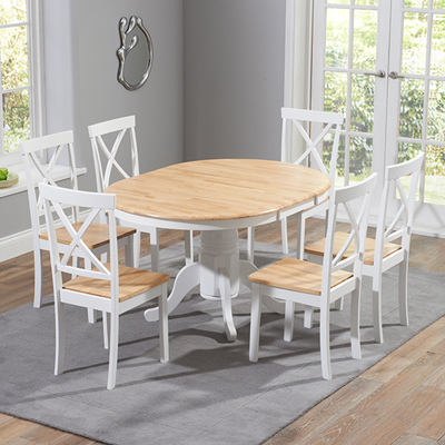 Elson Round Oak And White 6 Seater Extending Dining Set