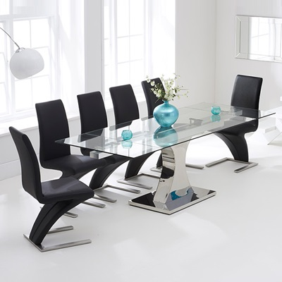 Ambrose Glass Extending Dining Table With 10 Harvey Black Chairs 7444