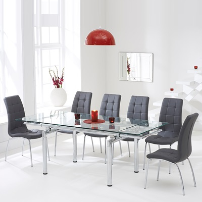 Calgary Glass Extending Dining Table With 8 Grey Chairs