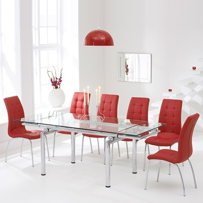 Calgary Glass Extending Dining Table With 8 Red Chairs