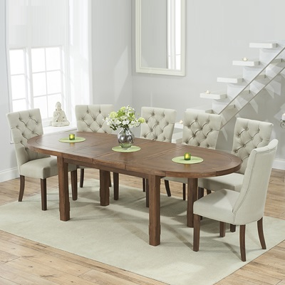 Chevron Dark Oak Oval Extending Dining Table with 6 Albany Grey