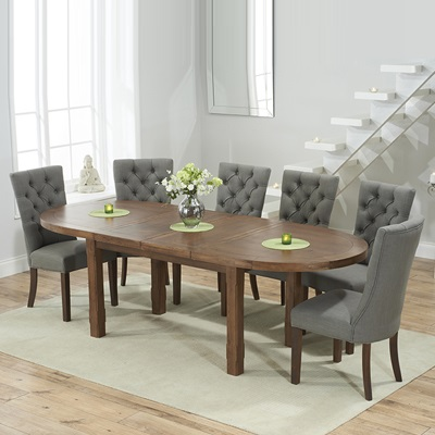 Chevron Dark Oak Oval Extending Dining Table With 6 Albany Grey Chairs 6786