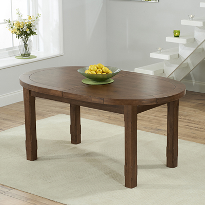 Chevron dark oak oval extending dining table with 6 albany for Dark oak dining table