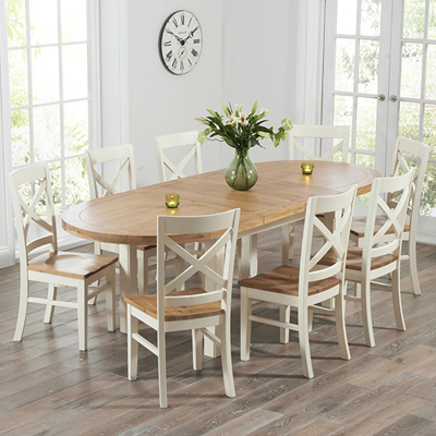 Chevron Oak And Cream Oval Extending Dining Table With 8 Carver Chairs