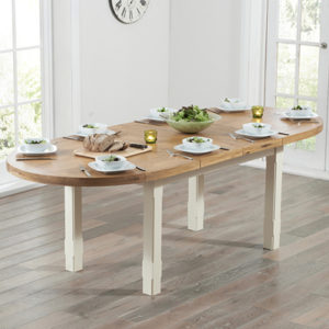 Chevron Oak And Cream Oval Extending Dining Table 6992