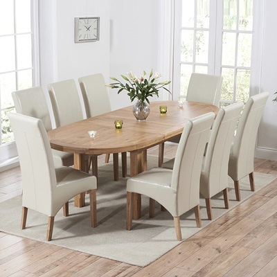 Enjoyable Chevron Solid Oak Oval Extending Dining Table With 8 Rome Chairs Inzonedesignstudio Interior Chair Design Inzonedesignstudiocom