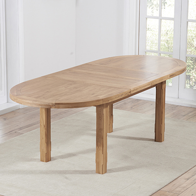 Chevron Solid Oak Oval Extending Dining Table