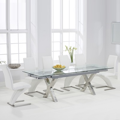 6bb836a90d65c Centro Glass Extending Dining Table with 10 Harvey White Chairs-7559