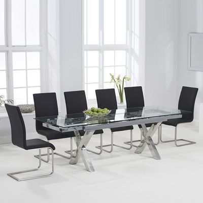 93bd074fad3d1 Centro Glass Extending Dining Table with 10 Milan Black Chairs-7568