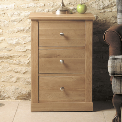 mobel solid oak 3 drawer bedside cabinet 10376