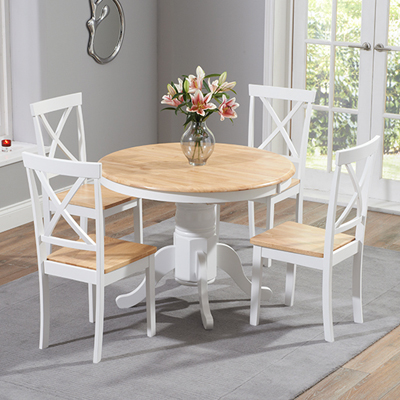 Astonishing Elson Round Oak And White 4 Seater Dining Set Complete Home Design Collection Lindsey Bellcom